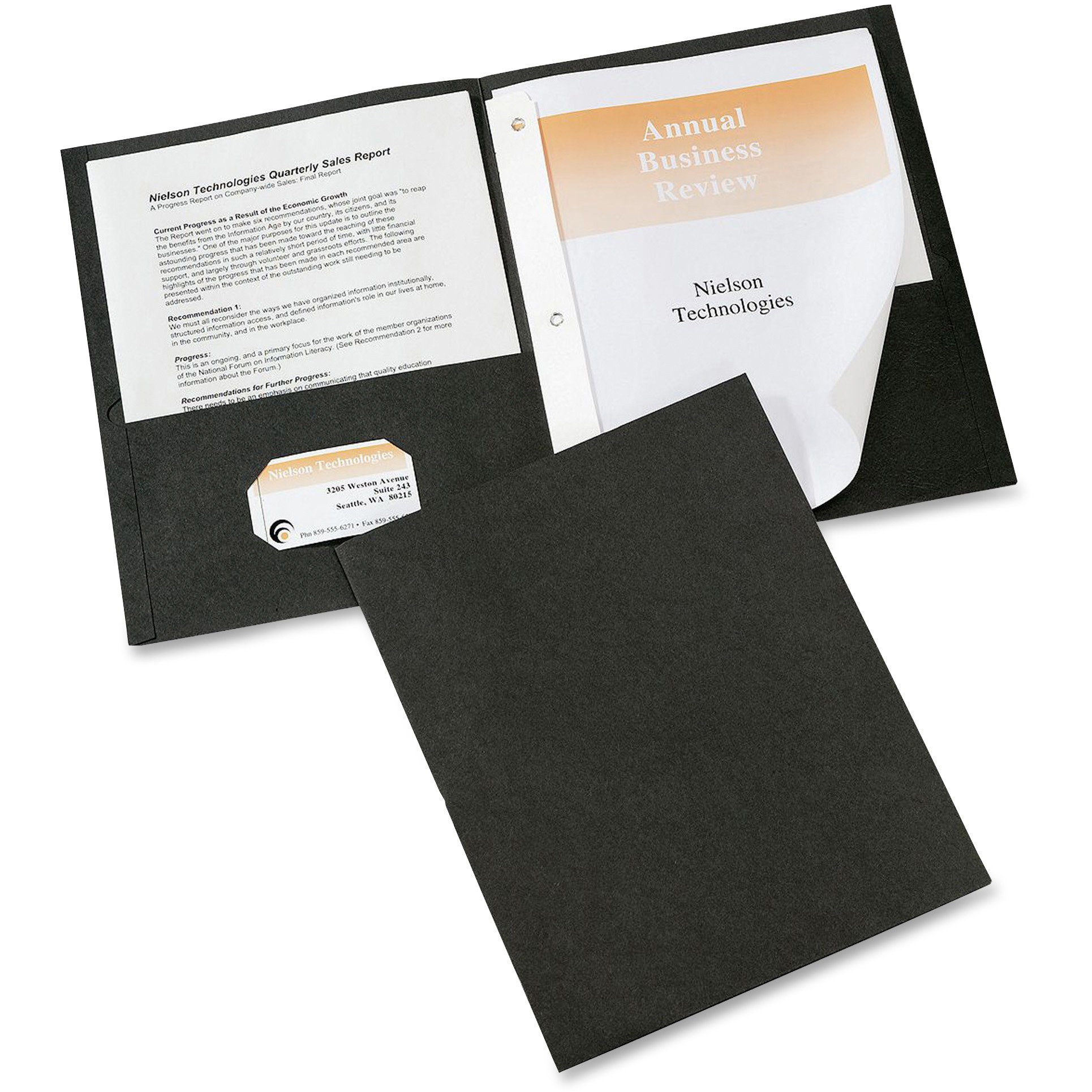 "Avery Two-Pocket Folder, Prong Fastener, Letter, 1/2"" Capacity, Black, 25/Box"