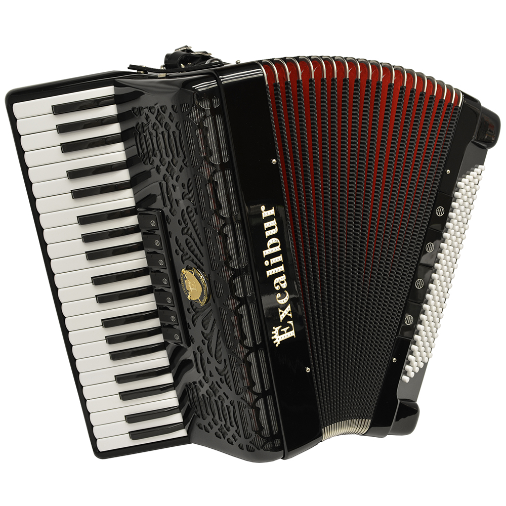 Excalibur Professionale Crown 120 Bass Piano Accordion Black by