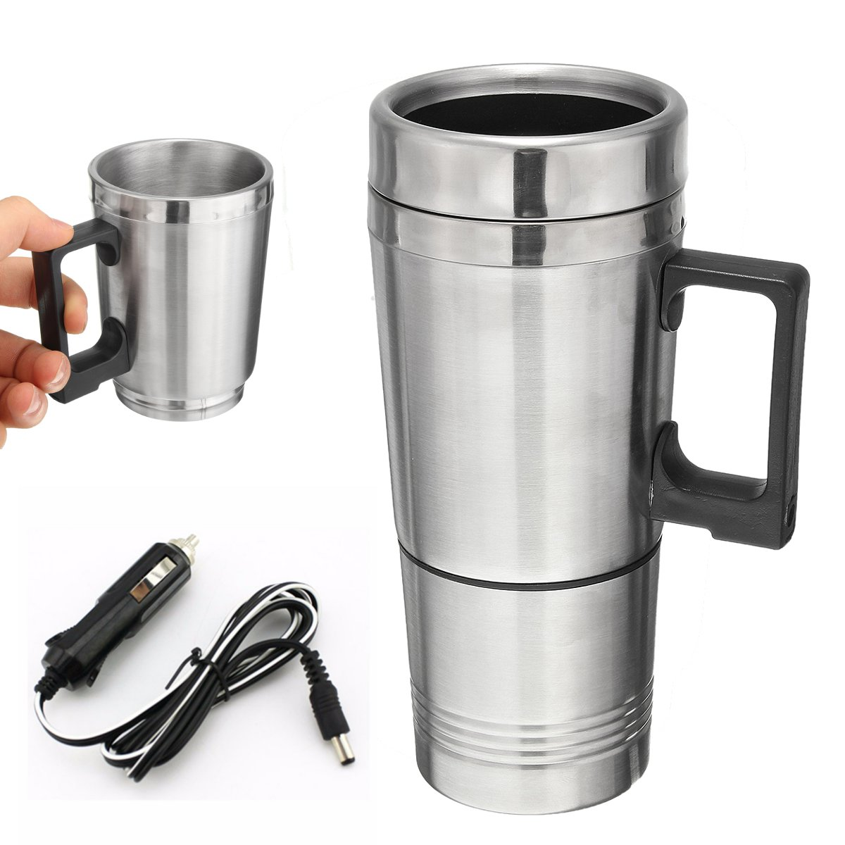 Stainless Steel 12v 500ml Car Auto Heating Kettle Boiler Water Thermoses Mug Vehicle Coffee Maker Tea Pot Vehicle Heater Cup Bottle