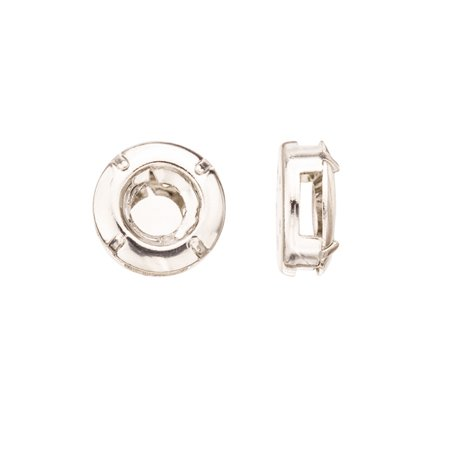 Curvilinear Round Shape Multi-Function Bezel Cup Silver Plated Brass Fits ss38 Swarovski Crystal 14mm Sold per pkg of - Plated Round Shape