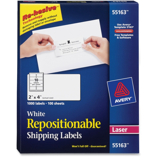 "Avery Repositionable Mailing Labels - Removable Adhesive - 4"" Width x 2"" Length - 10 / Sheet - Rectangle - Laser - White - 1000 / Box"