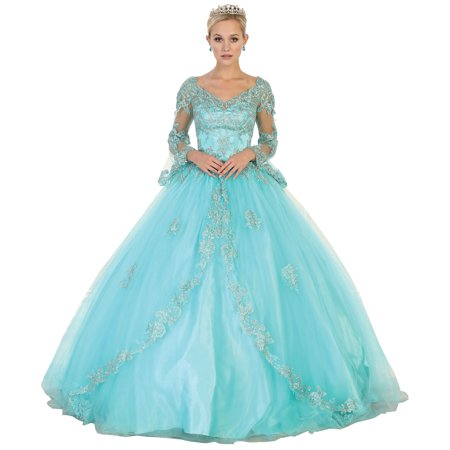 BELL SLEEVES QUINCEANERA BALL GOWN