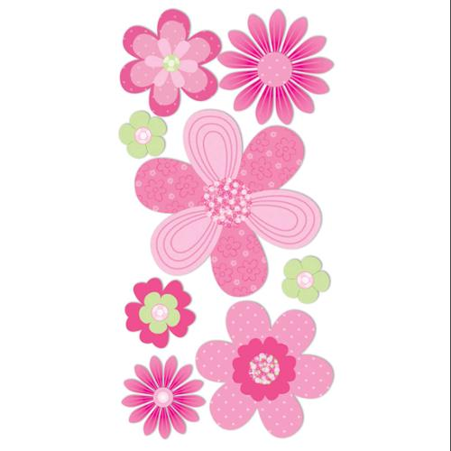 "Essentials Dimensional Stickers 2.75""X6.75"" Sheet-Pink & Green Flowers"