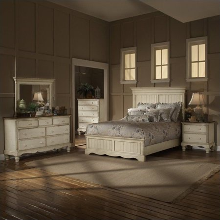 Hillsdale Wilshire 4 Piece Bedroom Set in Antique White - Walmart.com