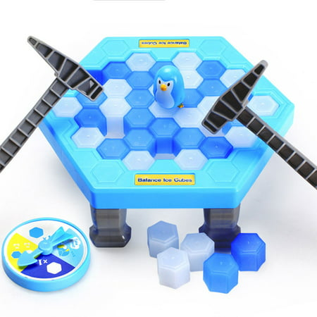 Generic Interesting Game Ice Breaking Knock Save The Penguin Great Family Kids Adults Game Toys Gifts Puzzle Table Desktop Game(Blue) ()