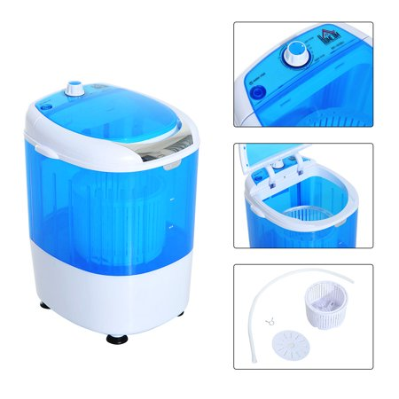 Dry Wash System - HOMCOM Electric Small Compact Portable Clothes Washer, Washing Machine - Top Load Wash and Spin Dry , for Dorms, College Rooms, RV's - Blue and White