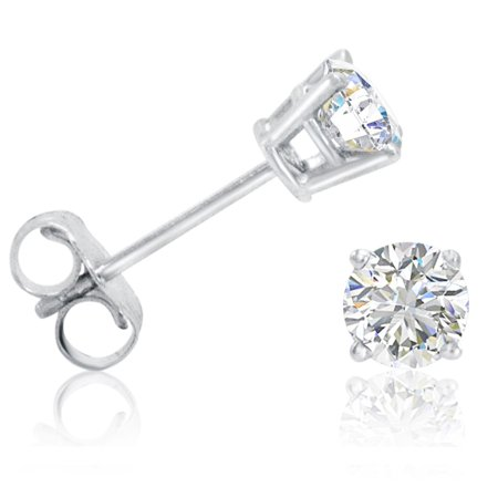 Amanda Rose 1 2Ct Tw  Round Diamond Solitaire Stud Earrings In 14K White Gold