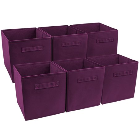 ghp 6 pcs 11 x10 5 x10 5 purple collapsible foldable fabric storage cube bin basket. Black Bedroom Furniture Sets. Home Design Ideas