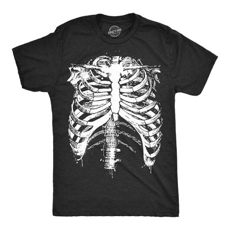Skeleton T Shirts (Mens Splattered Rib Cage Tshirt Cool Skeleton Costume Halloween Tee For)