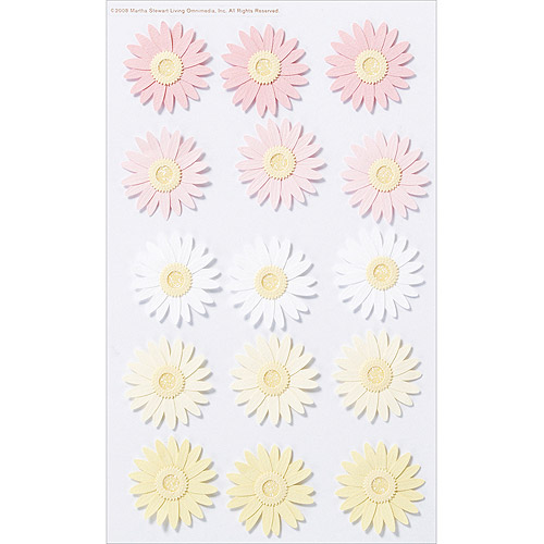 Martha Stewart Crafts Pink And Yellow Dimensional Daisy Stickers