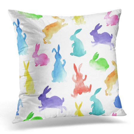 ARHOME Blue Bunny Rainbow Watercolor Rabbits Pattern Pink Easter Pillow Case Pillow Cover 20x20 inch - Bunny Pillows