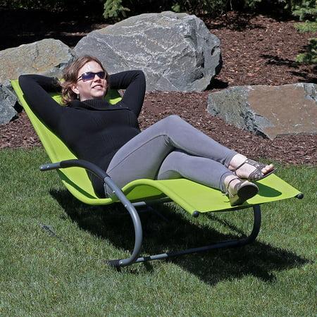 Sunnydaze Outdoor Rocking Wave Lounger w/ Pillow, Green, Set of 2 ()
