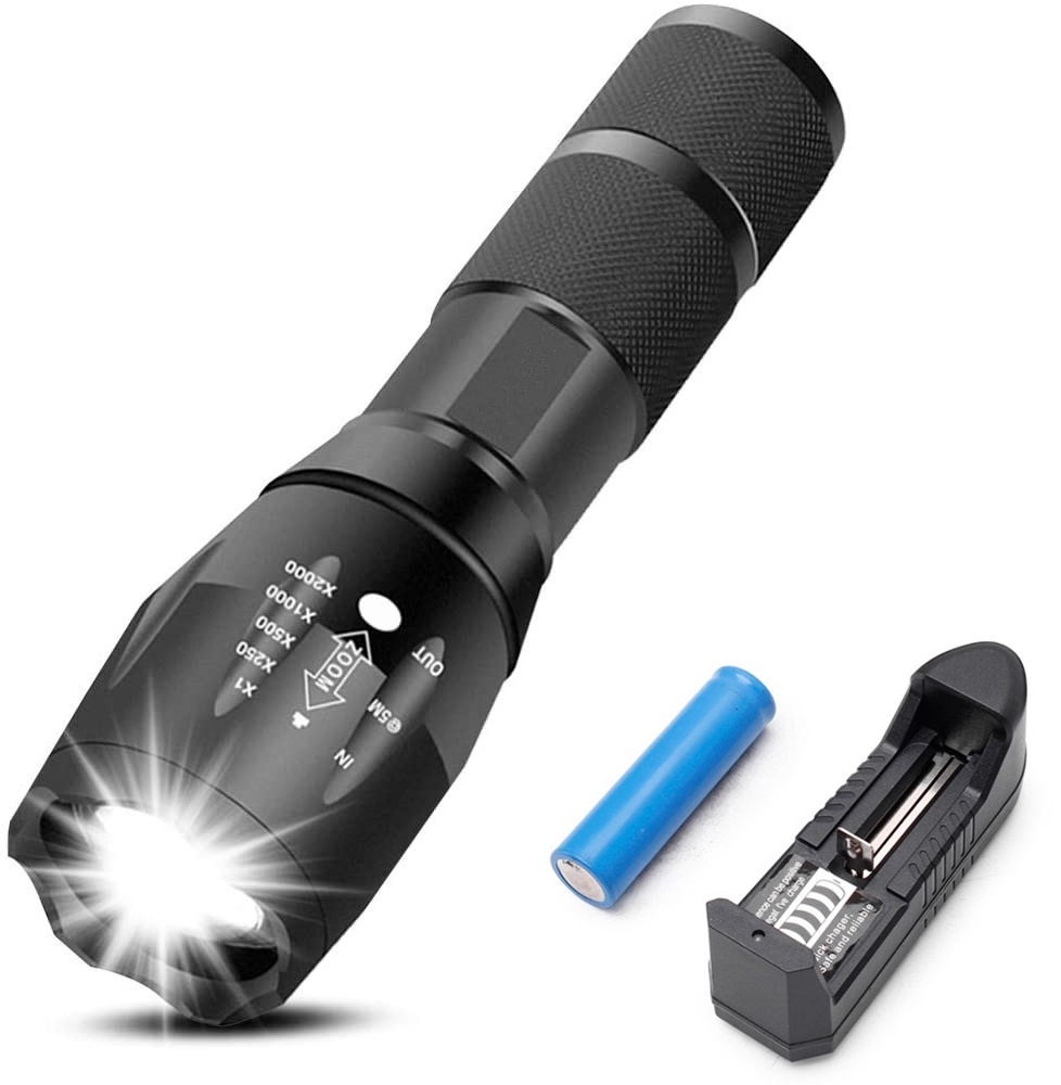 Rechargeable Tactical Flashlight High Lumens LED Super Bright Zoomable 5 Modes