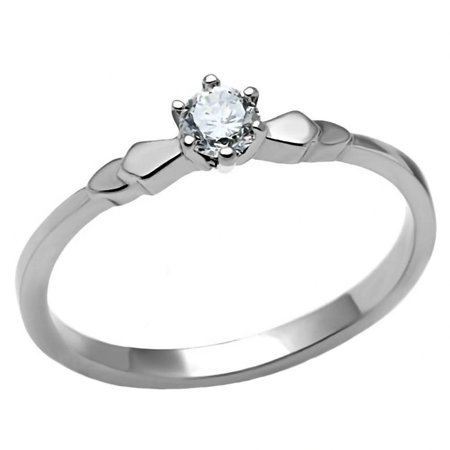 Trustmark 0.20ct Brilliant-cut Ice on Fire CZ Petite Stainless Steel Engagement Ring, Posie sz - Stainless Steel Fire Ring