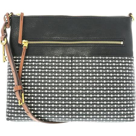 Ink Fabric Handbags (Fossil Women's Fiona Fabric Large Crossbody Cross Body Bag - Black)