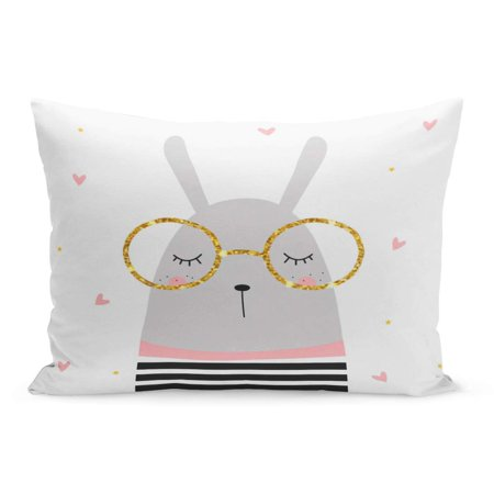 ECCOT Little Pink Gold Cute Bunny and Glasses Star Pillowcase Pillow Cover Cushion Case 20x30 inch