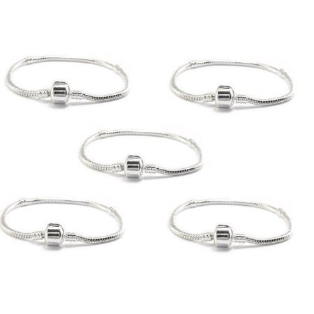 Buckets Of Beads 5 Pack 8 Inch Barrel Clasp Charm Bracelets Compatible With Most
