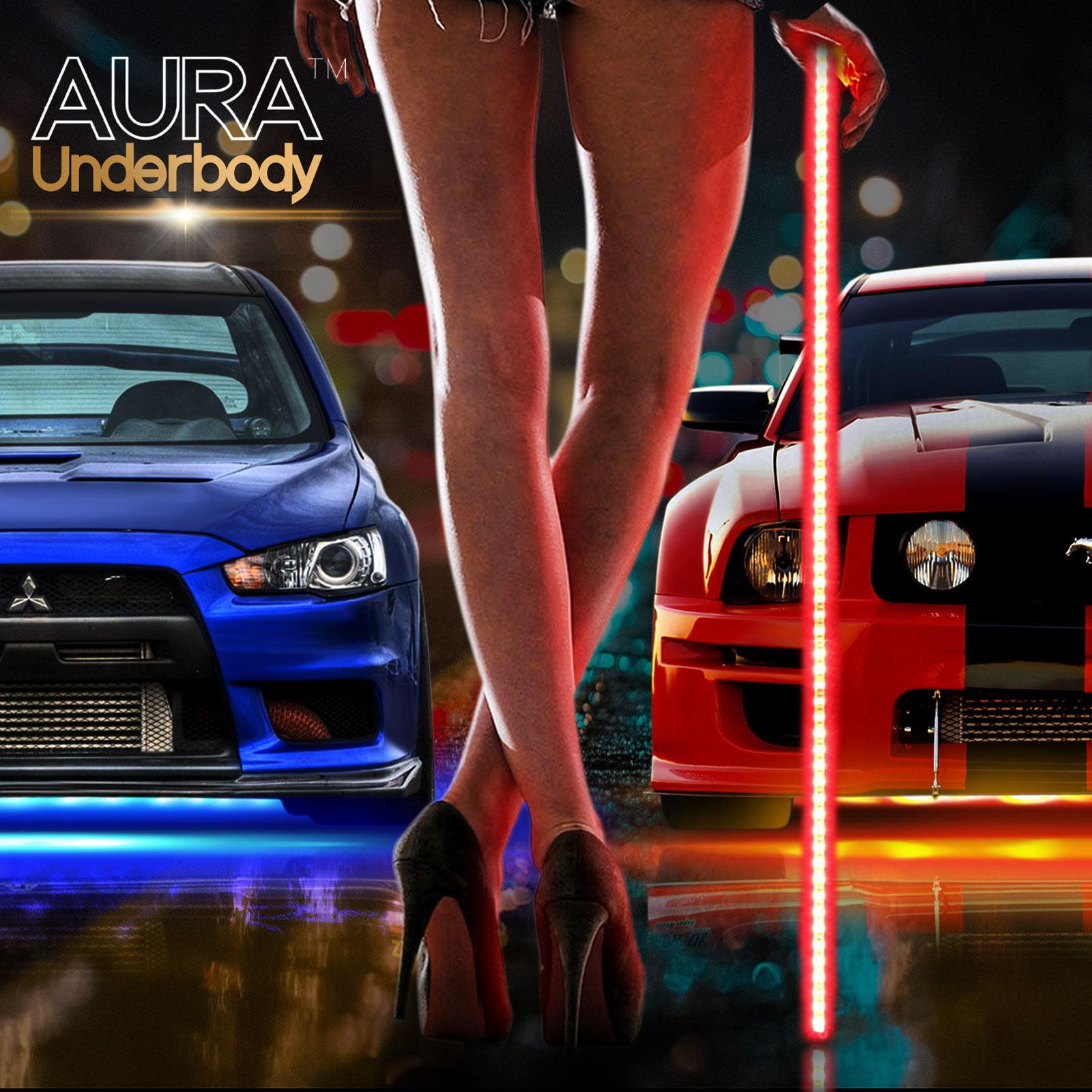 AURA® 4pc LED Underbody Lighting Kit - Full Color Spectrum - Smart-Color™ Strips - Aluminum Build - E-Z Remotes