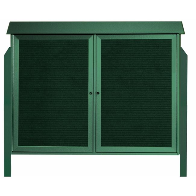 Aarco Products  Inc.  Green Two Door Hinged Door Plastic Lumber Message Center with Letter Board - Posts Included - 40 in.H x 52 in.W