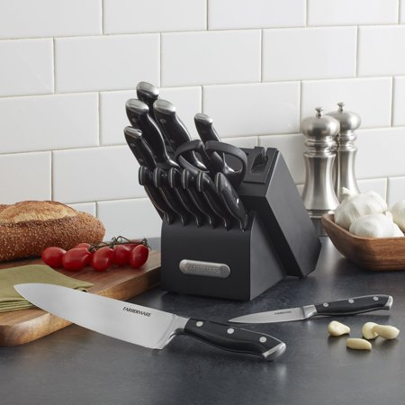 Farberware Edgekeeper 15-Piece Forged Triple-Riveted Knife Set with Built-In Knife Sharpener-Black