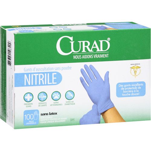 Curad Nitrile Powder-Free Exam Gloves, 100 count