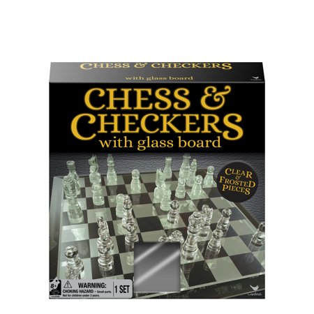 "Chess & Checkers Set with 9"" Glass Board"