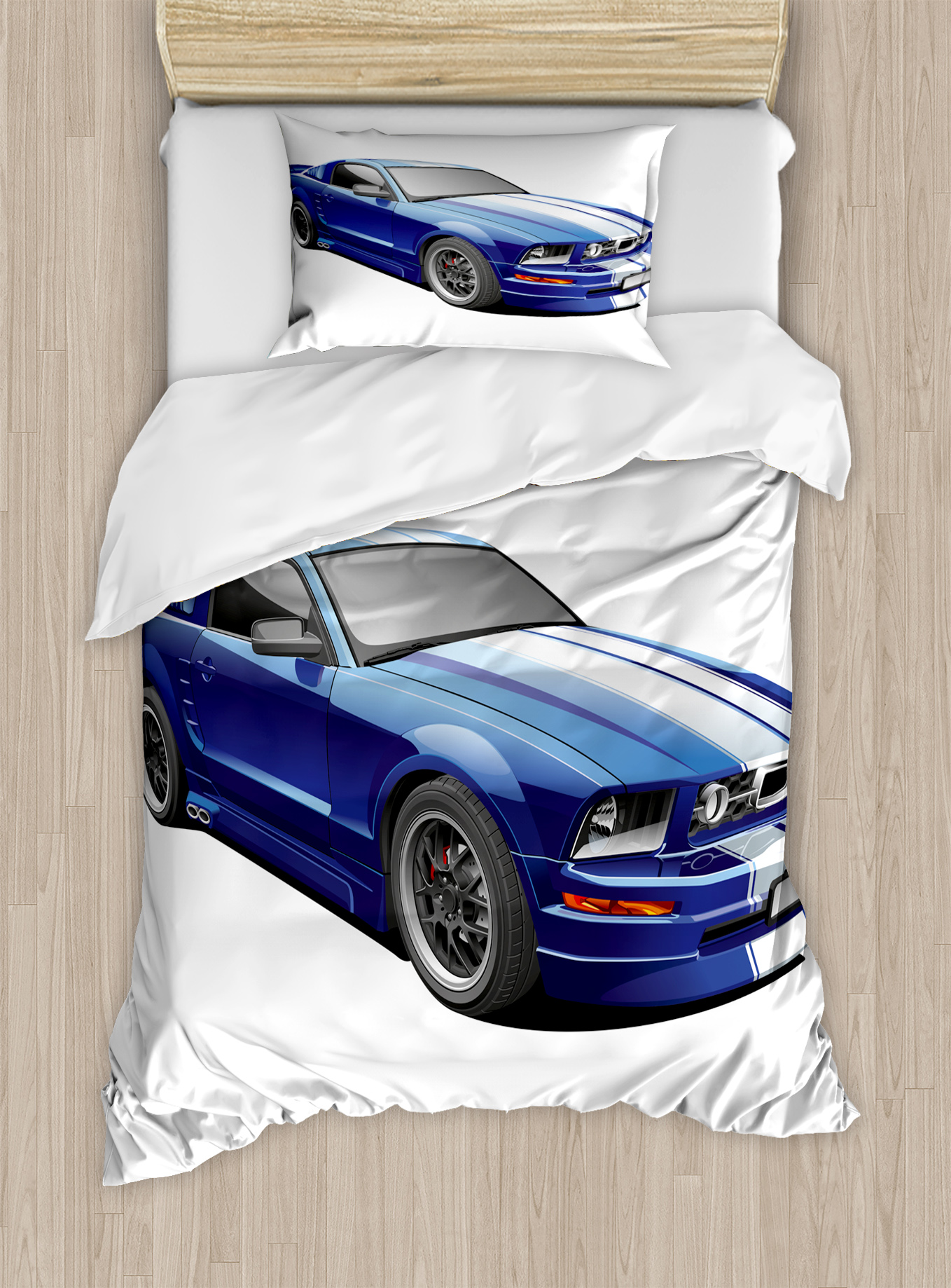 Teen Room Decor Twin Size Duvet Cover Set, American Auto Racing Car Sports Competition... by Kozmos