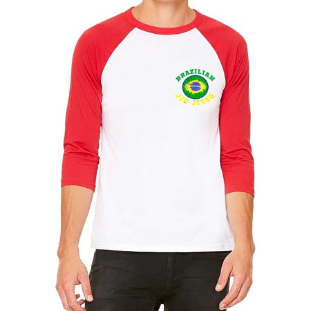 Unisex Chest Brazilian Jiu Jitsu Circle White/Red C5 3/4 Sleeve Baseball T-Shirt Medium Chest Padded Baseball Shirt
