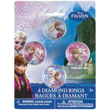 Plastic Disney Frozen Diamond Ring Party Favors, 4ct
