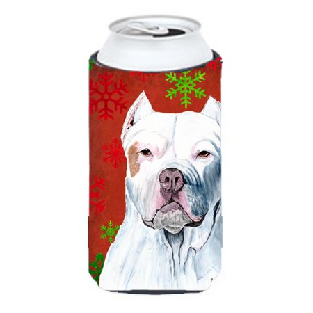 Pit Bull Red and Green Snowflakes Holiday Christmas Tall Boy   Hugger - image 1 de 1