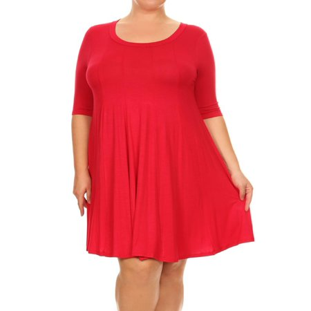 MOA COLLECTION Women's Plus Size Solid Casual Relax Fit Short Sleeve Pleat Midi Dress/Made in USA - Pink Satin Ladies
