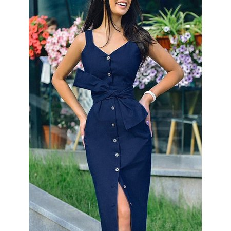 Women Square Neck Sleeveless Striped Button Down Dresses Summer Midi