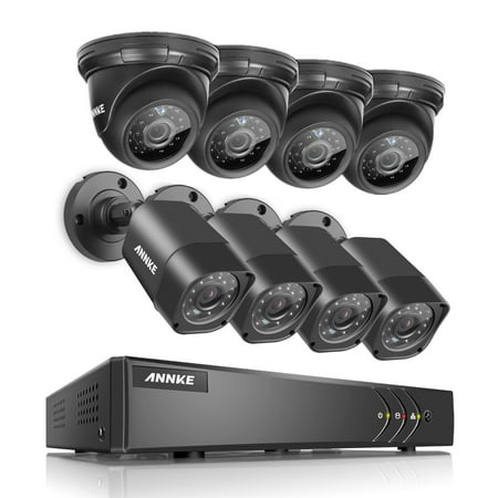 Dome Video (ANNKE 8CH Surveillance Home Security 1080N Video Recorder and 4Pcs Indoor/outdoor Weatherproof Bullet and Dome Cameras With NO Hard Drive Disk )
