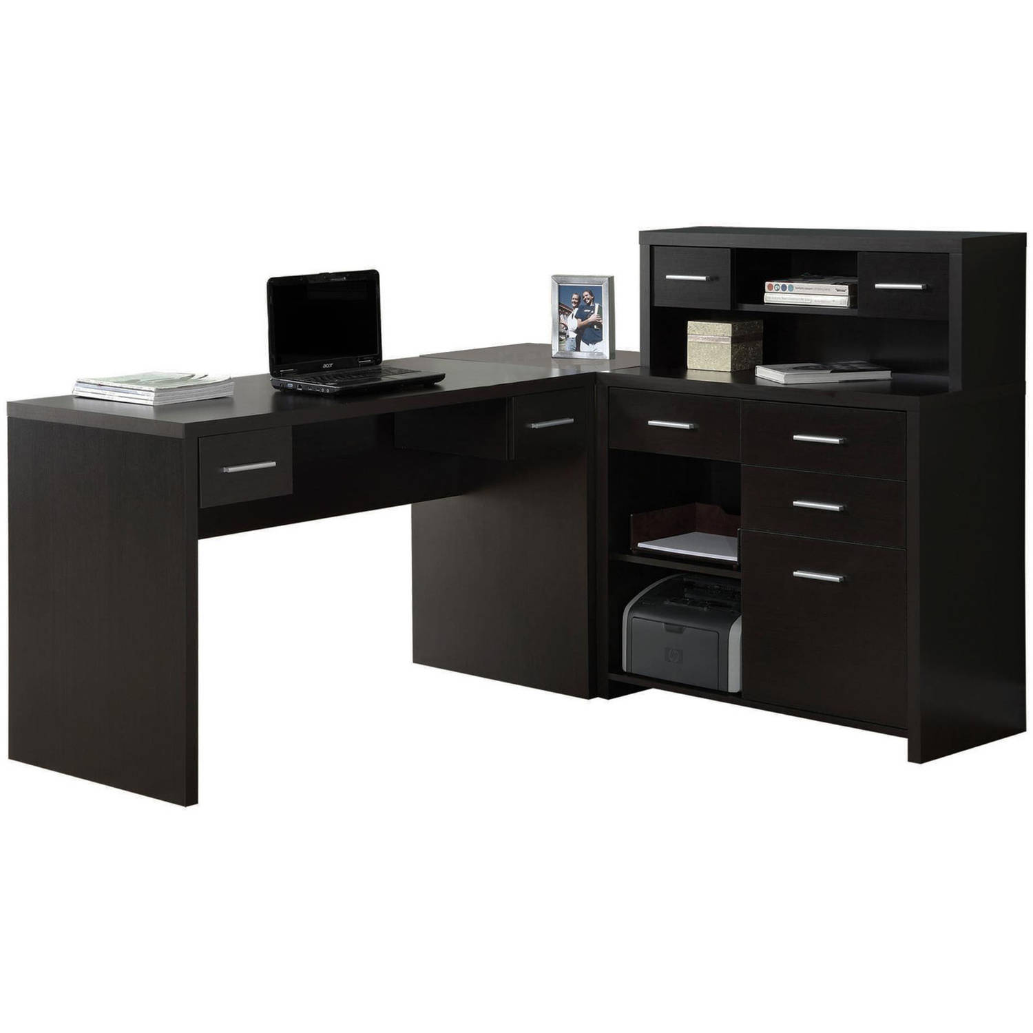 monarch cappuccino hollowcore lshaped home office desk