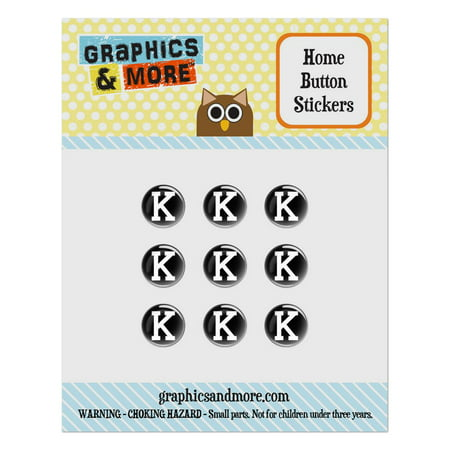 Letter K Initial Black White Home Button Stickers Set Fit Apple iPhone iPad iPod Touch