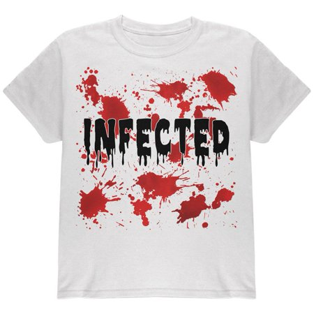 Halloween Infected Blood Splatter Youth T - Halloween Splatter Nails