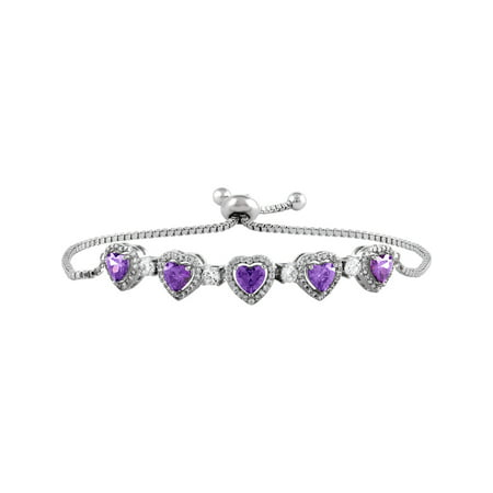Sterling Silver Plated Simulated Amethyst & CZ Adjustable Bracelet