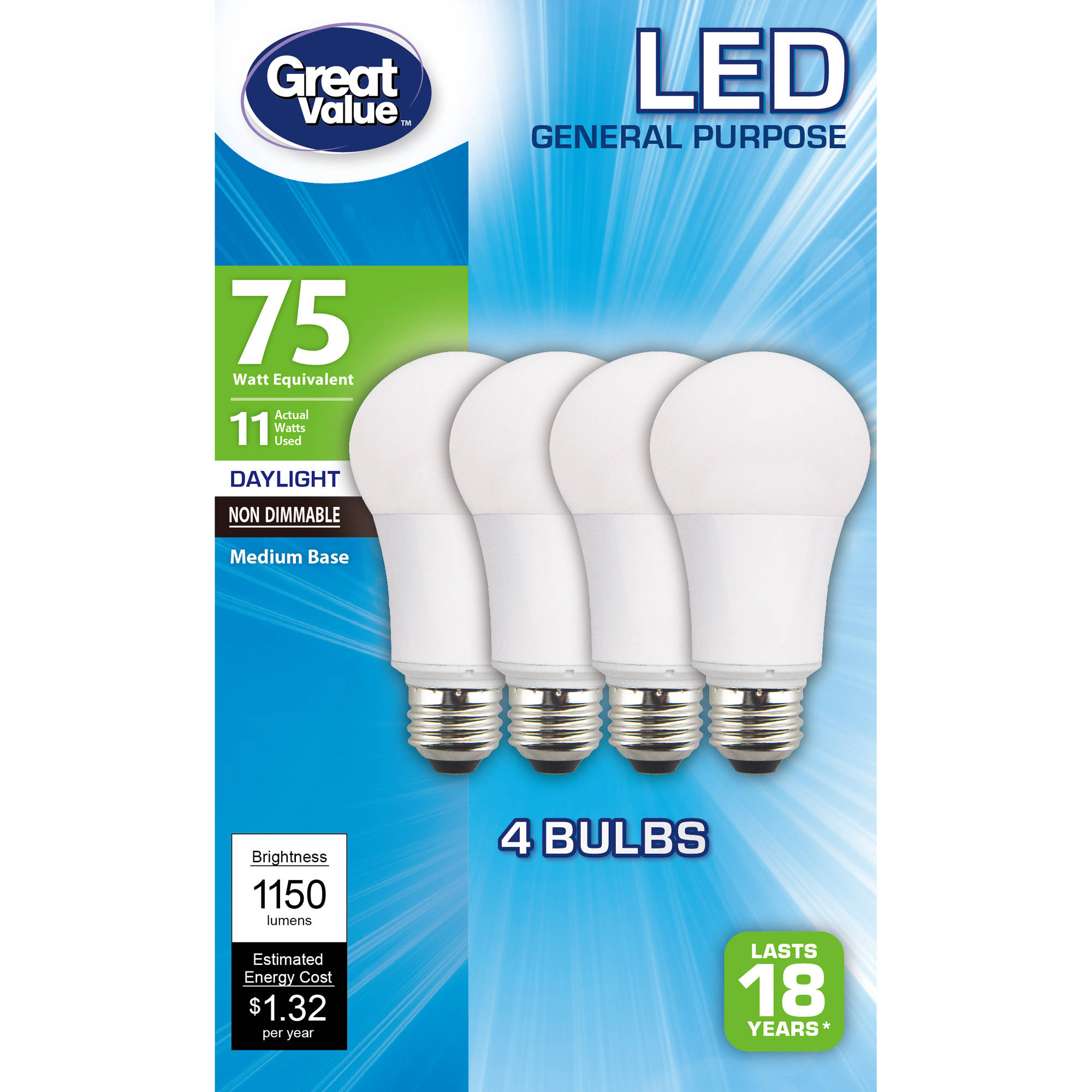 Great Value LED A15 (E26) Light Bulbs 11W (75W Equivalent), Daylight, 4-Pack