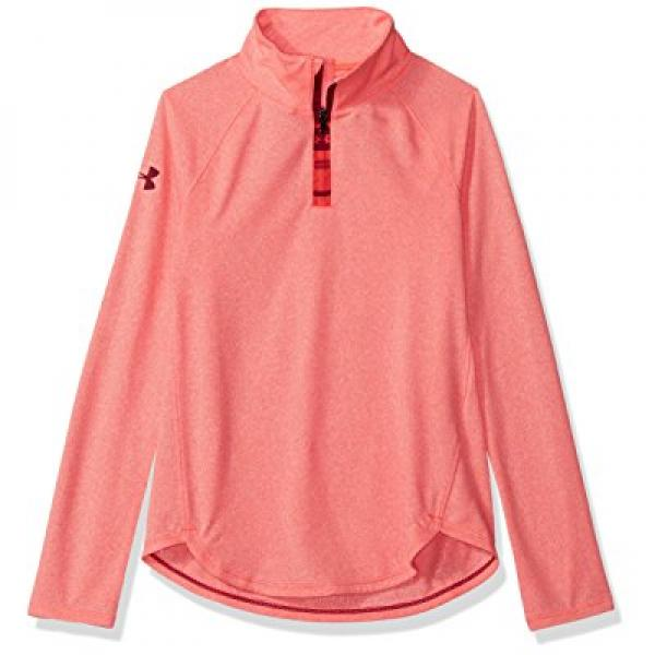 Under Armour Girls' Tech Novelty 1/4 Zip, Pink Chroma/Black Cherry, Youth Small