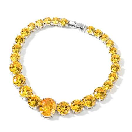 Simulated Yellow Sapphire Line Tennis Bracelet Gift Jewelry 7.50