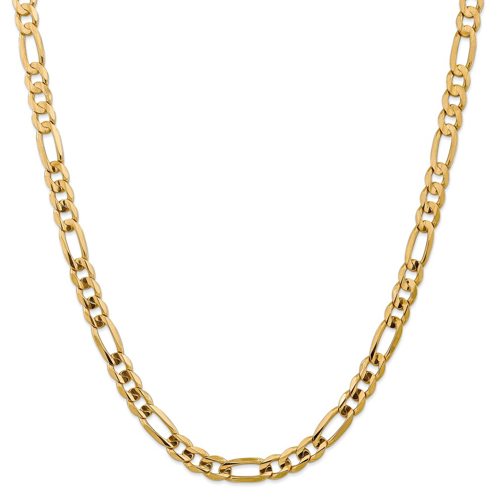 14k Gold 7.5mm Concave Open Figaro Chain Bracelet 14.6 Grams 8 Inch Lobster Claw by