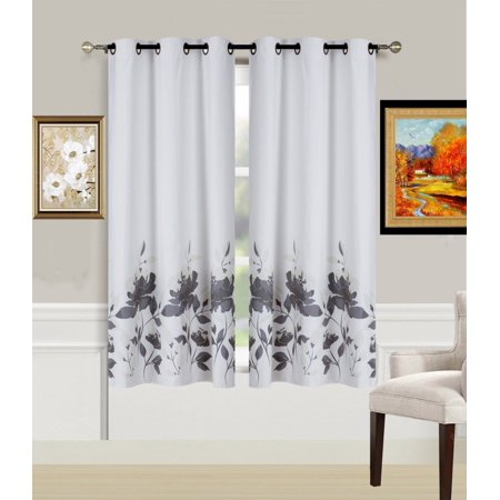 2-Piece FLOWER SILVER Printed Lined Blackout Grommet Window Curtain Treatment, Set of Two (2) Floral Pattern Room Darkening Panels 37