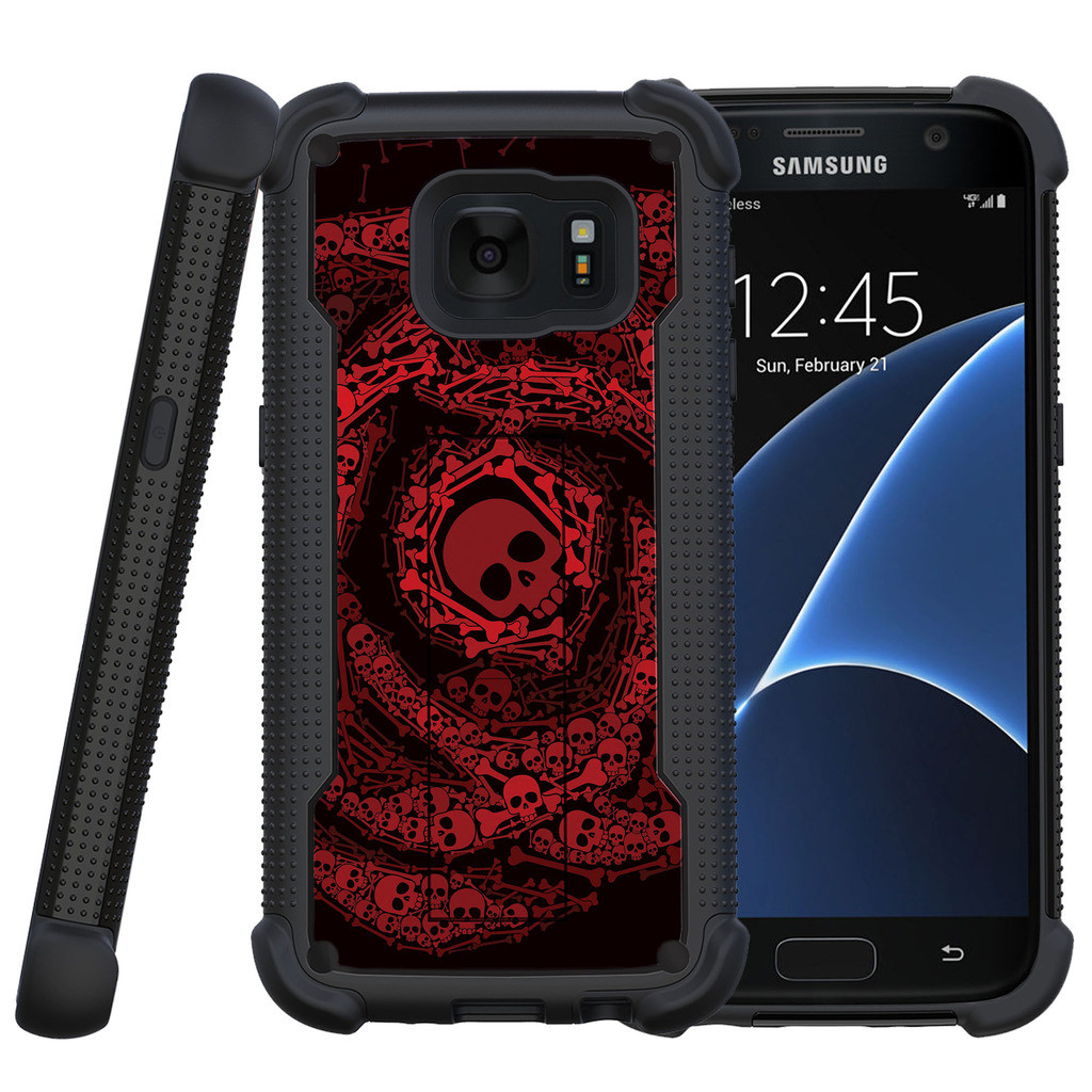Samsung Galaxy S7 Case | Galaxy S7 Phone Case [ShockWave Armor] Dual Layer High Impact Case w/ Kickstand - Red Skull