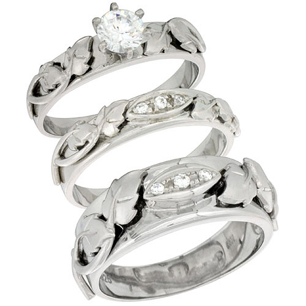 Sterling Silver Cubic Zirconia Trio Engagement Wedding Ring Set for Him and Her, men's band 5/16 inch wide, L 5 - 10 & M 8 - 14