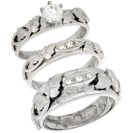 Band M - Sterling Silver Cubic Zirconia Trio Engagement Wedding Ring Set for Him and Her, men's band 5/16 inch wide, L 5 - 10 & M 8 - 14