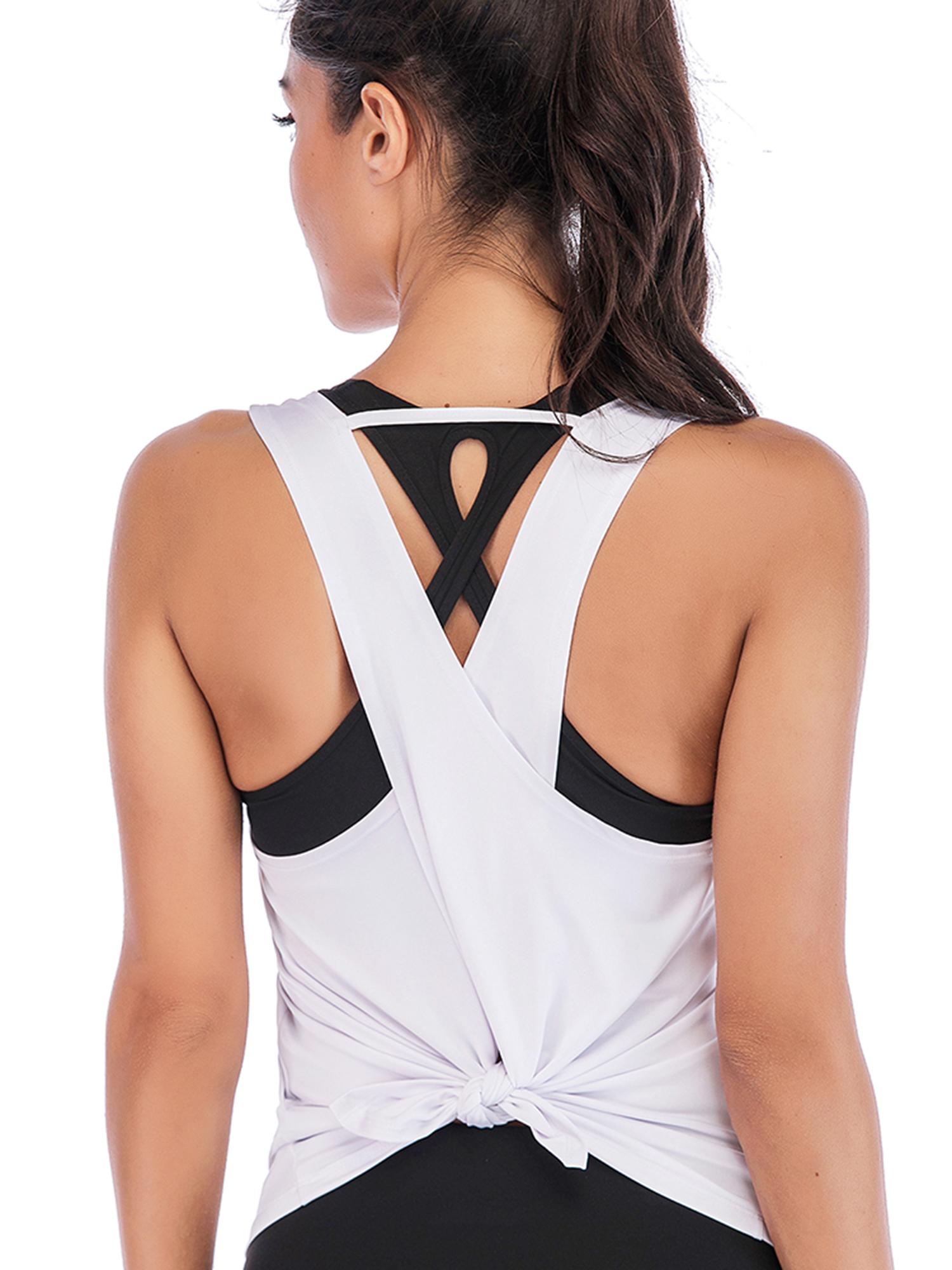 Dance Vest Cotton Vest Top Workout Top Scalloped Back Yoga Vest Blue Cotton Top Denim Blue FEEL FREE Yoga Top Loose Fit Yoga Vest Top