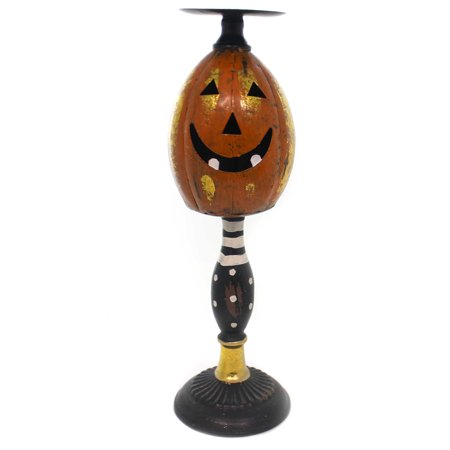 Halloween JACK O LANTERN CANDLEHOLDER LG Metal Pumpkin 41185A2 - This Is Halloween Metal Tab