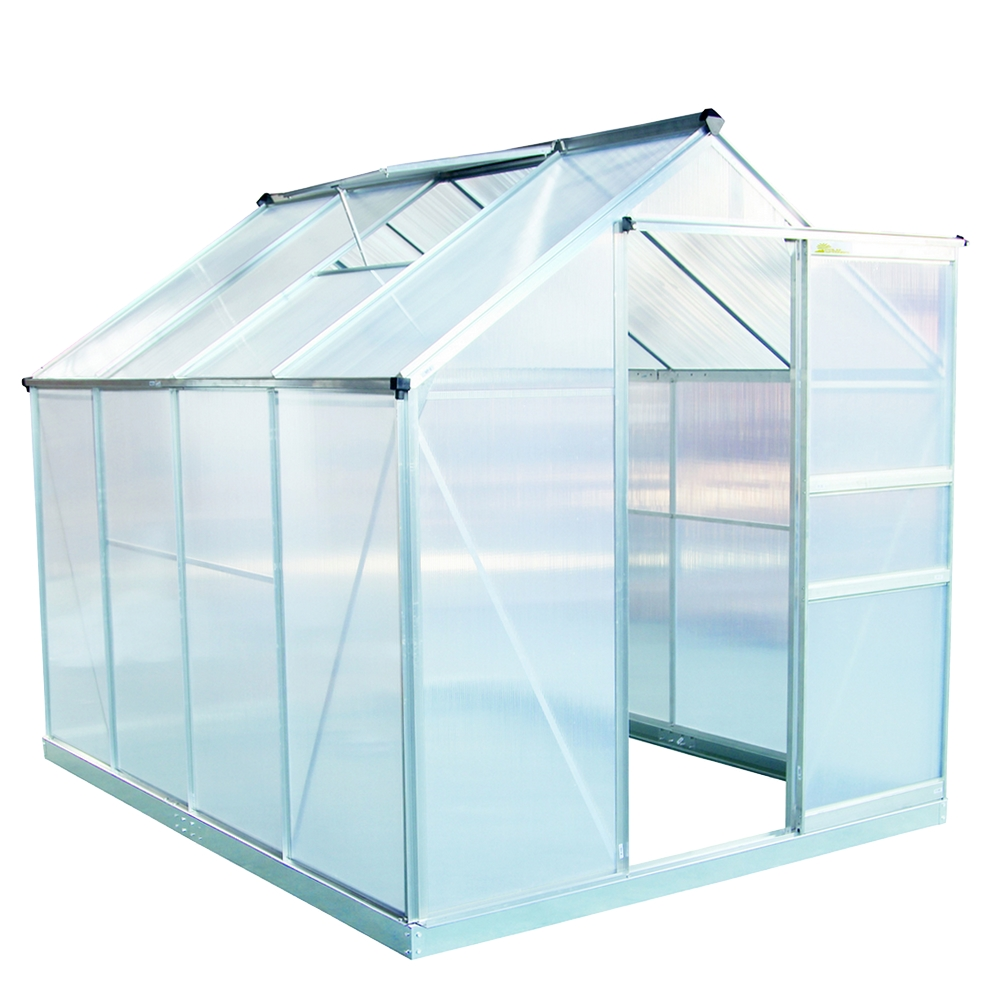Palm Springs 6ft x 8ft Aluminum Walk in Greenhouse with polycarbonate panels by