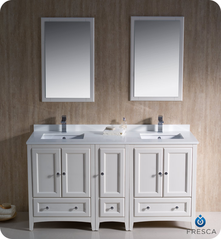 "Fresca FVN20-241224 Oxford 60"" Free Standing Double Vanity Set with MDF Cabinet,"