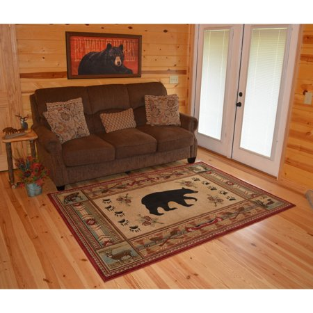 Rug Empire The Outdoorsmen Collection Rustic Lodge Red Bear Cabin Area Rug - 5'3 x 7'3 ()